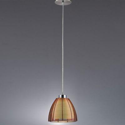Pendente Bella Iluminação Wire Cupula Cone Vidro Café Metal Ø19cm 1 E27 110v 220v Bivolt GA002C Sala Estar Saguão