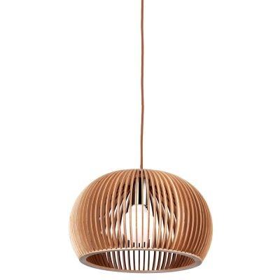 Pendente Bella Iluminação Wood Madeira 1/2 Esfera Aço Cromo Bege 37x60cm 1 E27 110v 220v Bivolt LB008 Balcões Cozinhas