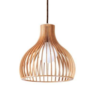 Pendente Bella Iluminação Wood Madeira Sino Aço Cromo Bege 45x45cm 1 E27 110v 220v Bivolt LB005 Cozinhas Balcões