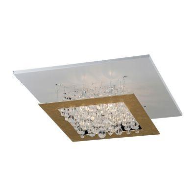 Plafon Bella Iluminação Aleo Quadrado Metal Vidro Cristal K9 15x42cm 4 G9 Halopin 110v 220v Bivolt HO116 Saguão Cozinhas