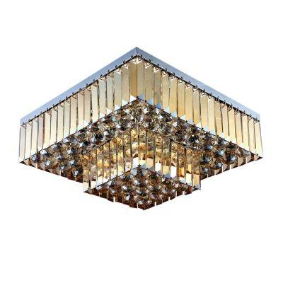 Plafon Bella Iluminação Carre Quadrado Cristal K9 Ambar 24x44cm 5 E14 40w 110v 220v Bivolt AQ016A Saguão Corredores