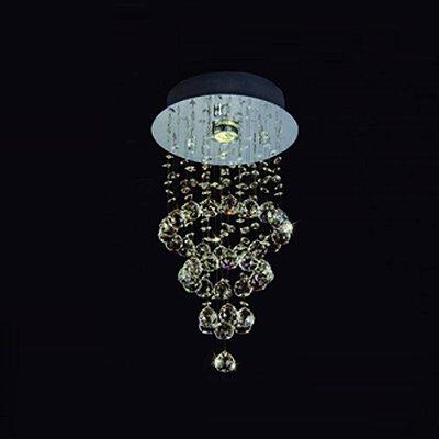 Plafon Bella Iluminação Cascade Aço Cromo Cristal K9 Âmbar 50x25cm 1 GU10 Dicróica JL004A Saguão Corredores