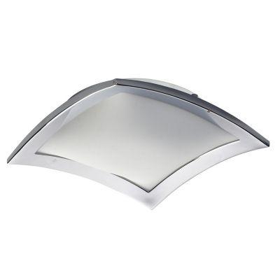 Plafon Bella Iluminação Curvo Aço Quadrado Cromo Vidro Branco 8x30cm 2 E27 110v 220v Bivolt YT004C Saguão Cozinhas