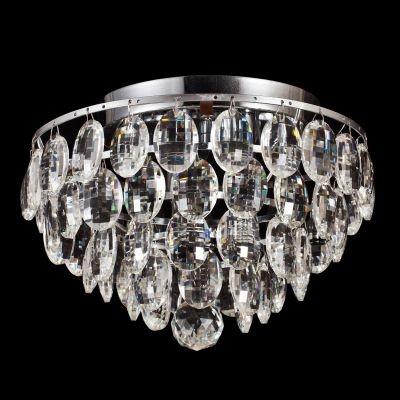 Plafon Bella Iluminação Kri Metal Cromo Cristal K9 Gotas 24x27cm 4 G9 Halopin 110v 220v Bivolt HU1101 Saguão Sala Estar