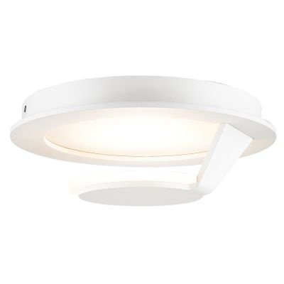 Plafon Bella Iluminação Plate Contemporâneo Redondo LED Metal Branco 14x35cm 1 LED 18W MG001L Saguão Quartos
