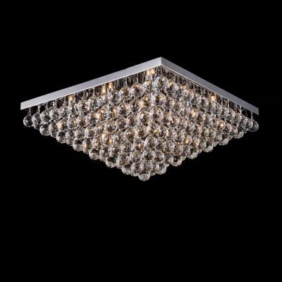 Plafon Bella Iluminação Sobrepor Spring Metal Cromo Cristal K9 27x60cm 12 G9 Halopin 110v 220v Bivolt SS004 Sala Estar Saguão