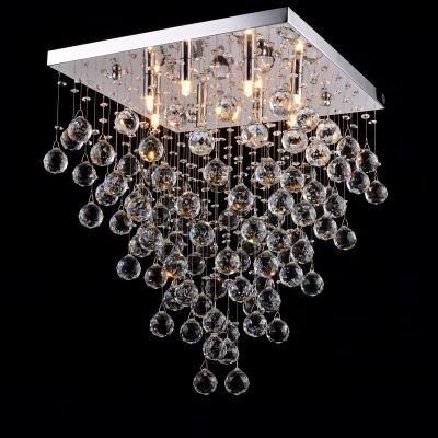 Plafon Bella Iluminação Sobrepor Spring Metal Cromo Cristal K9 55,5x45cm 8 G9 Halopin 110v 220v Bivolt SS006 Sala Estar Saguão