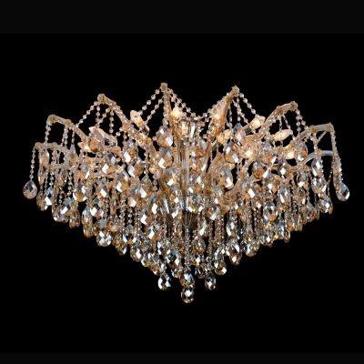 Plafon Bella Iluminação Teia Aranha Cromo Cristal K9 Champagne 75x120cm 24 E14 40w 110v 220v Bivolt AR003A Saguão Hall