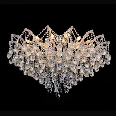 Plafon Bella Iluminação Teia Aranha Cromo Cristal K9 Translucido 75x120cm 24 E14 110v 220v Bivolt 40w AR003C Saguão Hall