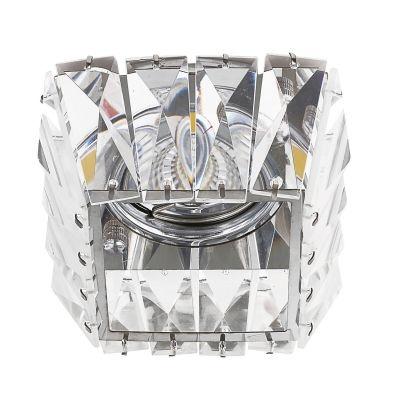 Spot Bella Iluminação Cristal K9 Embutir Quadrado Metal Cromo 7,8x9,2cm 1 GU10 Dicróica 110v 220v Bivolt YD1026 Sala Estar Saguão