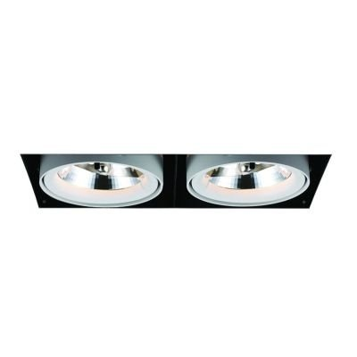 Spot Bella Iluminação Duplo Aro No Frame Metal Branco 29,5x12,3cm G53 2 A111 50W 110v 220v Bivolt NS1032 Sala Estar Hall