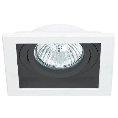 Spot Bella Iluminação Embutir Conecta Quadrado Metal Branco Preto 4x9cm 1 GU10 Minidicróica NS7351P Sala Estar Hall