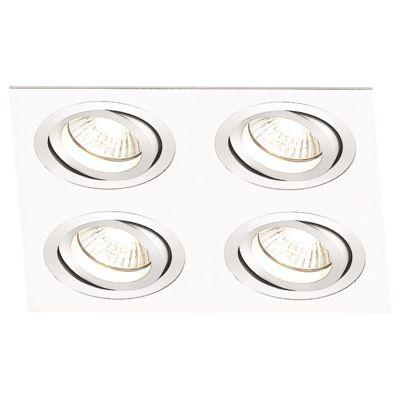 Spot Bella Iluminação Embutir Ecco Quadrado Metal Escovado 5x14,8cm 4 Minidicróica 110v 220v Bivolt NS5104B Sala Estar Saguão