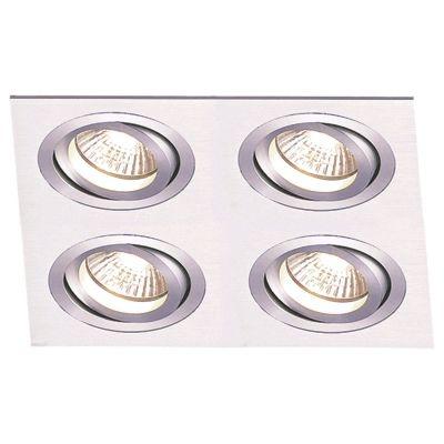 Spot Bella Iluminação Embutir Ecco Quadrado Metal Escovado 6,5x34cm 4 AR111 110v 220v Bivolt NS5114A Quartos Saguão