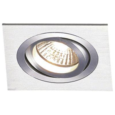 Spot Bella Iluminação Embutir Ecco Quadrado Regulavel Escovado 6,5x17cm 1 AR111 110v 220v Bivolt NS5111A Corredores Sala Estar