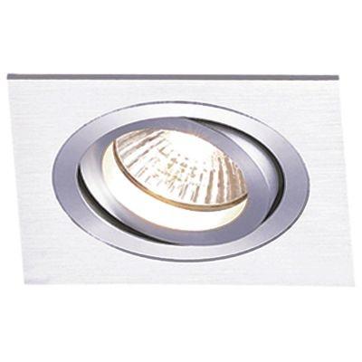 Spot Bella Iluminação Embutir Ecco Quadrado Metal Escovado Ø12cm 1 E27 PAR20 110v 220v Bivolt NS5201A Sala Estar Quartos