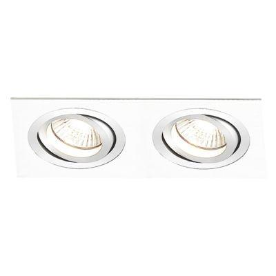 Spot Bella Iluminação Embutir Ecco Ret Duplo Metal Branco 5x14,8cm 2 Minidicróica 110v 220v Bivolt NS5102B Sala Estar Hall
