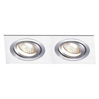 Spot Bella Iluminação Embutir Ecco Ret Duplo Metal Escovado 6,5x34cm 2 AR111 110v 220v Bivolt NS5112A Sala Estar Quartos