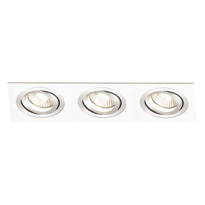 Spot Bella Iluminação Embutir Ecco Ret Triplo Metal Branco 5x22cm 3 Minidicróica 110v 220v Bivolt NS5103B Quartos Sala Estar