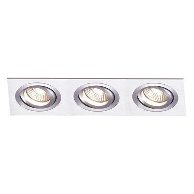 Spot Bella Iluminação Embutir Ecco Ret Triplo Metal Escovado 12x31cm 3 PAR30 110v 220v Bivolt NS5303A Sala Estar Quartos