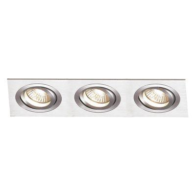 Spot Bella Iluminação Embutir Ecco Ret Triplo Metal Escovado 12x36cm 3 E27 PAR20 110v 220v Bivolt NS5203A Sala Estar Hall