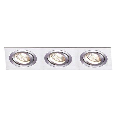 Spot Bella Iluminação Embutir Ecco Ret Triplo Metal Escovado 5x22cm 3 Minidicróica 110v 220v Bivolt NS5103A Sala Estar Hall