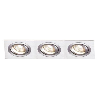 Spot Bella Iluminação Embutir Ecco Ret Triplo Metal Escovado 8x36cm 3 AR70 110v 220v Bivolt NS5703A Saguão Sala Estar