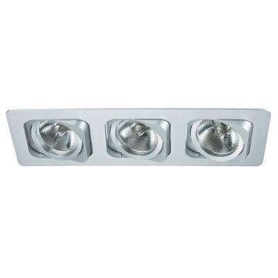 Spot Bella Iluminação Embutir Monet Ret Triplo Metal Branco 8x35cm 3 AR70 110v 220v Bivolt NS6703B Saguão Quartos