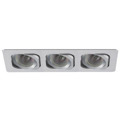 Spot Bella Iluminação Embutir Monet Ret Triplo Metal Escovado 8x35cm 3 AR70 110v 220v Bivolt NS6703A Saguão Quartos