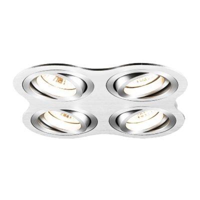 Spot Bella Iluminação Embutir Ouse Quadrado 4 Foco Metal 5,8x25,4cm 4 GU10 Dicróica 110v 220v Bivolt NS5600-4A Sala Estar Hall