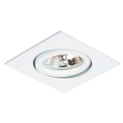 Spot Bella Iluminação Embutir Slim Quadrado Metal Branco 3x7cm 1 Minidicróica 110v 220v Bivolt NS335Q Sala Estar Cozinhas