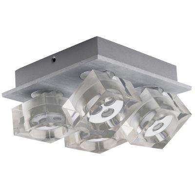 Spot Bella Iluminação Frost 4 Foco Soprepor Metal Acrílico 8,3x18,8cm 12 LED 1W 110v 220v Bivolt YD3404 Cozinhas Sala Estar