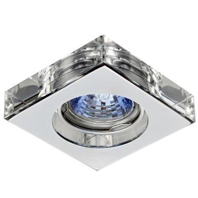 Spot Bella Iluminação Quadrado Cristal K9 Translucido Aço Cromo 1,4x6,2cm 1 GU10 Minidicróica YD755A Sala Estar Quartos