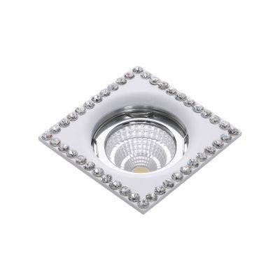 Spot Bella Iluminação Shine Embutir Cristal K9 Metal Branco 2,8x7,5cm 1 GU10 Dicróica YD1492 Quartos Sala Estar