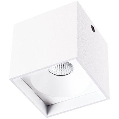 Spot Bella Iluminação Sobrepor Kube Cubico Metal Branco Ø8cm 1 LED 4W 110V LZ045A Escritórios Saguão