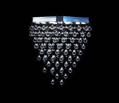 Lustre Oval Cromado Cristal K9 Intercalado Translúcido 13 Lamp. 80x40 DNA Iluminação Gu10 Ovl-013 Saguão e Hall