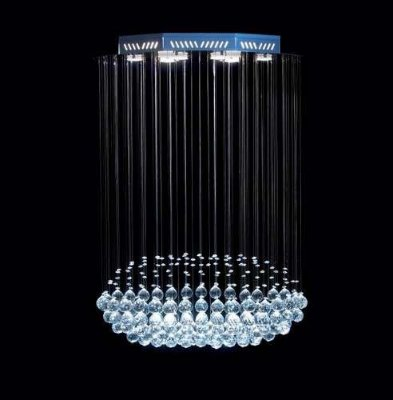 Lustre Oval Cromado Torpedo Cristal K9 Translúcido 8 Lamp. 70x40 DNA Iluminação Gu10 Trp-008 Cozinhas e Quartos