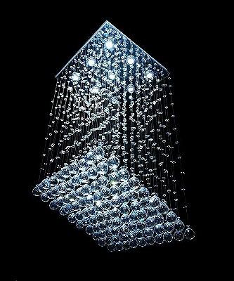 Lustre Quadrado Cromado Rampa Cristal K9 Translúcido 9 Lamp. 47x47 DNA Iluminação Gu10 QU-009 RMP Saguão e Quartos