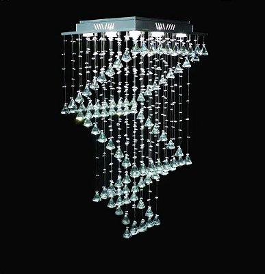 Lustre Quadrado Inox Espiral Pião Cromado Cristal K9 Translúcido 9 Lamp. 47x47 DNA Iluminação Gu10 Qu-005-esp-piao Saguão e Salas