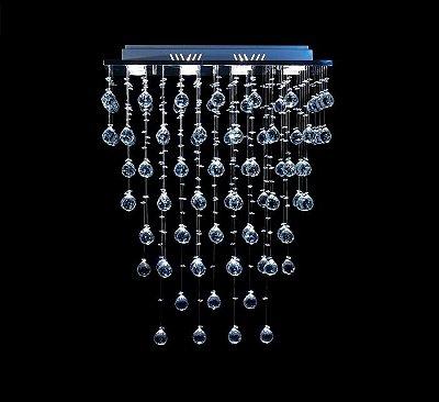 Lustre Retangular Cromado Cristal K9 Intercalado Translúcido 5 Lamp. 65x85 DNA Iluminação Gu10 Rt-008 Rmp Salas e Quartos
