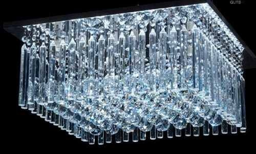 Plafon Quadrado Cristal K9 Asfour Translúcido Lapidado Placas e Bolas 50x50 DNA Iluminação Halopin QUTB-50X50 Hall e Quartos