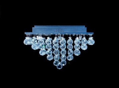 Plafon Quadrado Inox Cristal K9 Asfour Translúcido Pirâmide Uniforme 47x47 DNA Iluminação Halopin Qubp-009 Salas e Banheiros