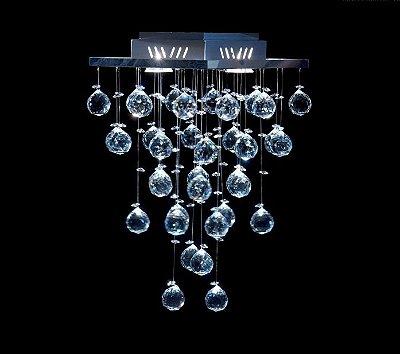 Plafon Quadrado Inox Cristal K9 Translúcido Asfour Intercalado 27x27 Qu-002 DNA Iluminação Quartos e Escritórios