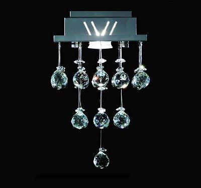 Plafon Quadrado Inox Cristal K9 Translúcido Asfour Uniforme 18x18 DNA Iluminação GU10 Qu001/30-u Salas e Cozinhas
