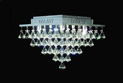 Plafon Quadrado Sobrepor Pião Inox Cristal K9 Translúcido Asfour 37x37 DNA Iluminação Halopin Qubp-005 P Banheiros e Salas