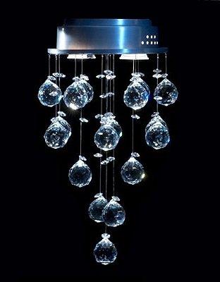 Plafon Redondo Inox Cristal K9 Translúcido Asfour Intercalado Ø21 DNA Iluminação GU10 Rd-002 Salas e Quartos