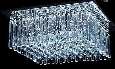 Plafon Sobrepor Quadrado Cristal K9 Lapidado Translúcido 40x40 DNA Iluminação Halopin Qutb-40x40 Quartos e Escritórios