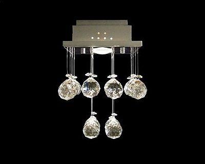 Plafon Sobrepor Quadrado Inox Cristal K9 Asfour Intercalado 18x18 DNA Iluminação GU10 Qu-001 Salas e Corredores