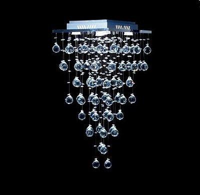 Plafon Sobrepor Quadrado Inox Fosco Cristal K9 Asfour Translúcido Intercalado 37x37 DNA Iluminação GU10 Qu-005 Salas e Quartos