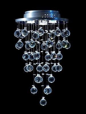 Plafon Sobrepor Redondo Inox Fosco Cristal K9 Asfour Intercalado Ø32 DNA Iluminação GU10 Rd-003 Hall e Quartos